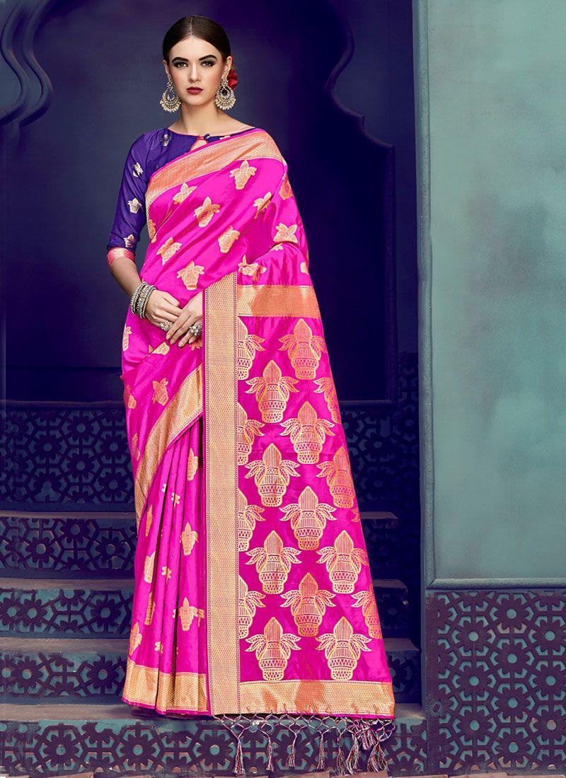 Hot Pink Festival Designer Traditional Saree