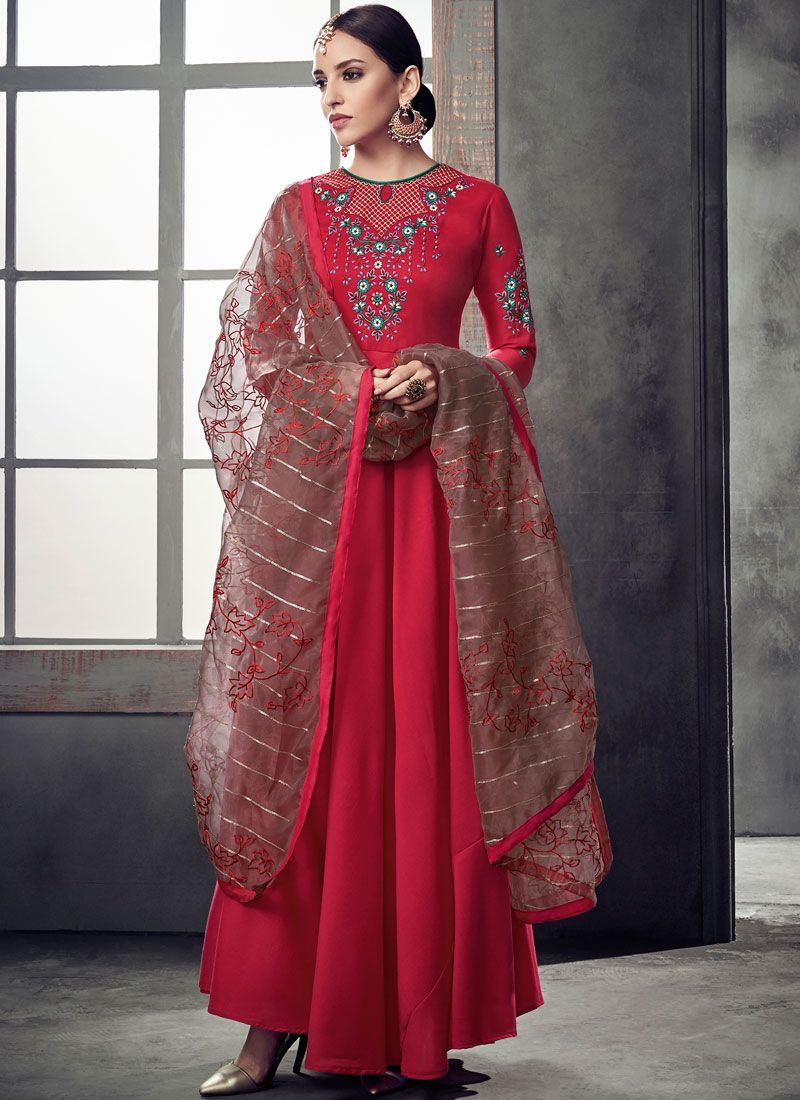 Hot Pink Festival Muslin Readymade Anarkali Suit