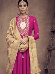 Hot Pink Festival Rayon Readymade Anarkali Suit