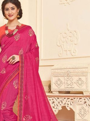 Hot Pink Foil print Trendy Saree