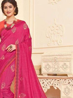 Hot Pink Foil print Trendy Saree