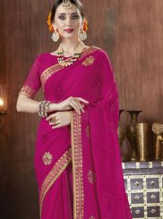 Hot Pink Georgette Classic Saree