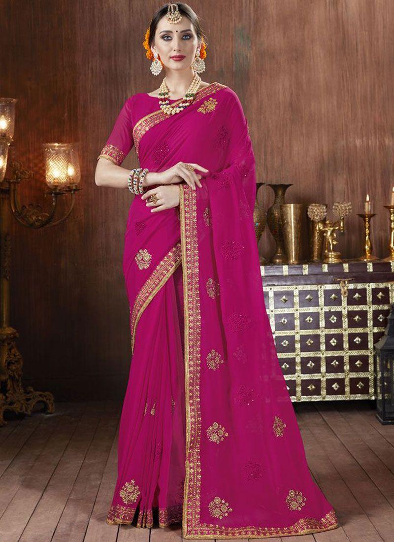 Hot Pink Georgette Classic Saree