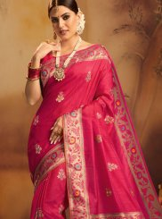 Hot Pink Jacquard Silk Traditional Saree
