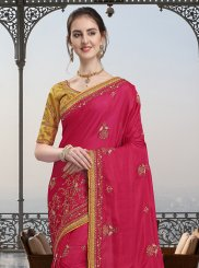 Hot Pink Lace Art Silk Traditional Designer Saree