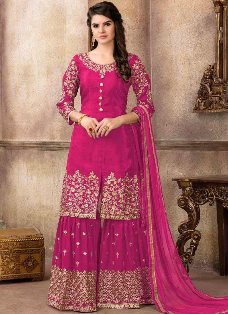 464e0ac424 Shop Online Hot Pink Lace Designer Pakistani Suit : 100800 -