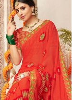 Orange Lace Mehndi Classic Saree