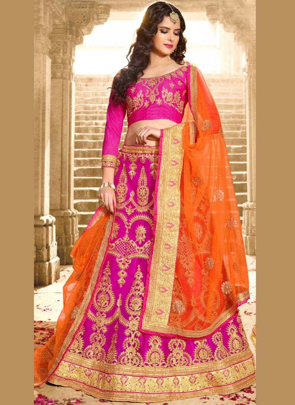 Hot Pink Lace Work Lehenga Choli