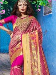 Hot Pink Mehndi Art Silk Designer Traditional Saree