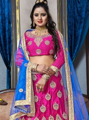 Hot Pink Mehndi Net Lehenga Choli