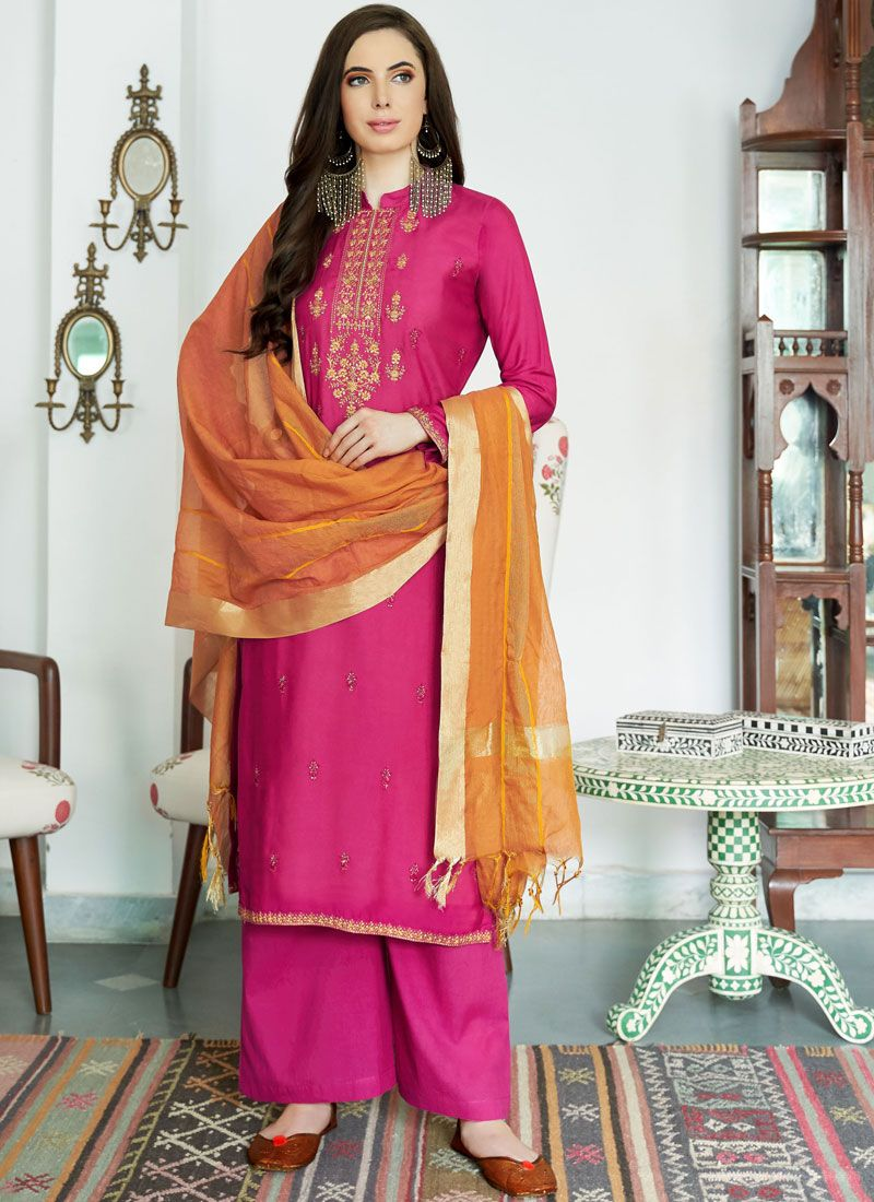 Hot Pink Muslin Lace Designer Palazzo Suit