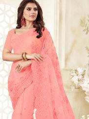 Hot Pink Net Resham Classic Designer Saree