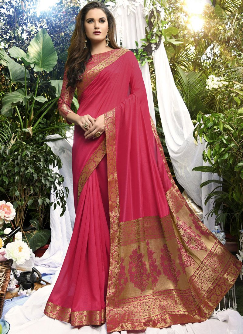 Hot Pink Party Art Silk Traditional Designer Saree