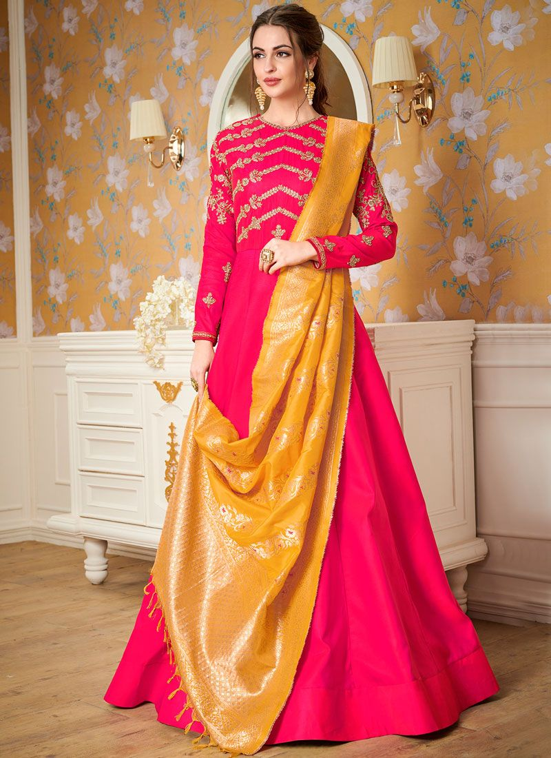 Hot Pink Party Satin Silk Readymade Gown