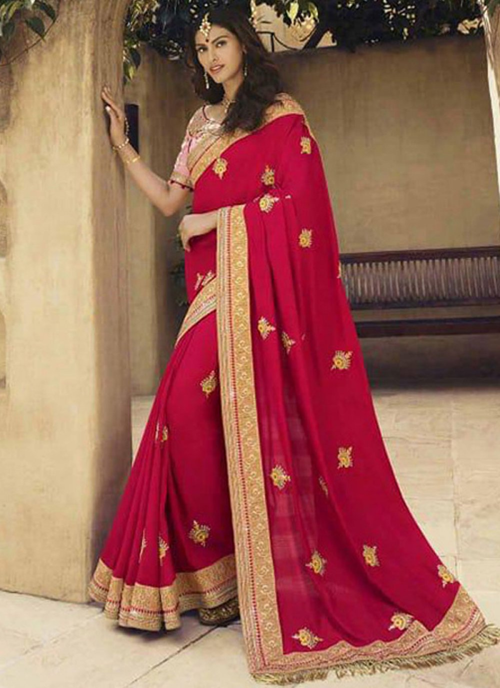 Hot Pink Patch Border Classic Designer Saree