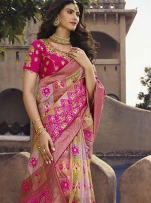 Hot Pink Patch Border Festival Traditional Saree