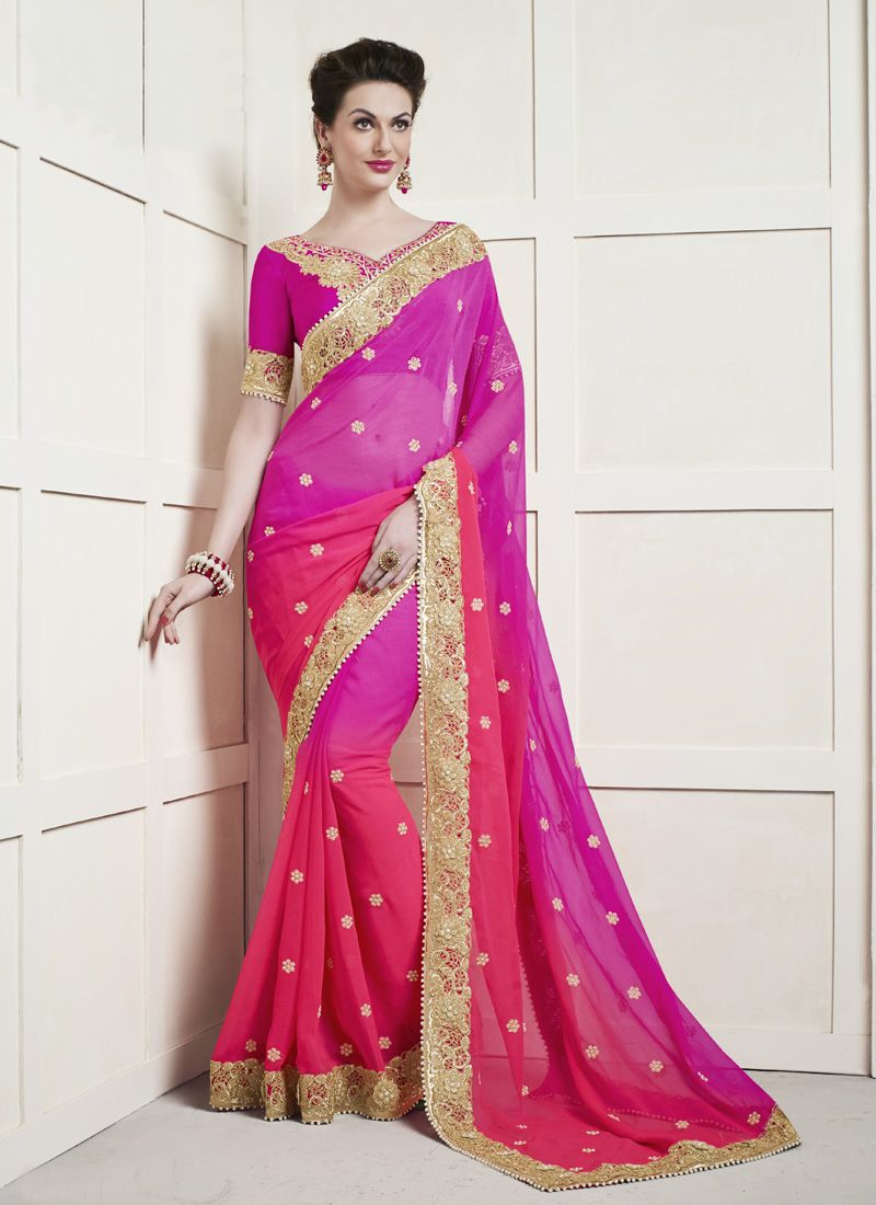 Hot Pink Patch Border Work Faux Chiffon Shaded Saree
