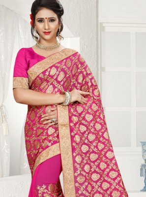Hot Pink Patch Border Work Faux Georgette Classic Saree