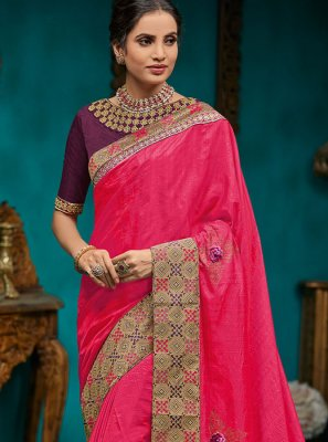 Hot Pink Poly Silk Embroidered Designer Traditional Saree