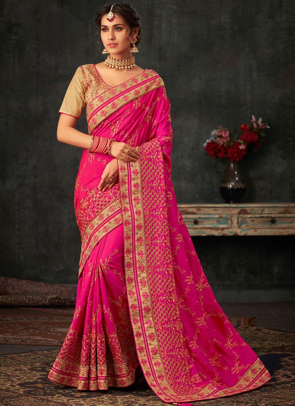 Hot Pink Poly Silk Patch Border Traditional Designer Saree