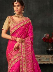 Hot Pink Poly Silk Patch Border Traditional Designer Saree