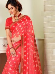 Hot Pink Print Designer Traditional Saree