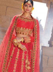 Hot Pink Raw Silk Trendy Designer Lehenga Choli