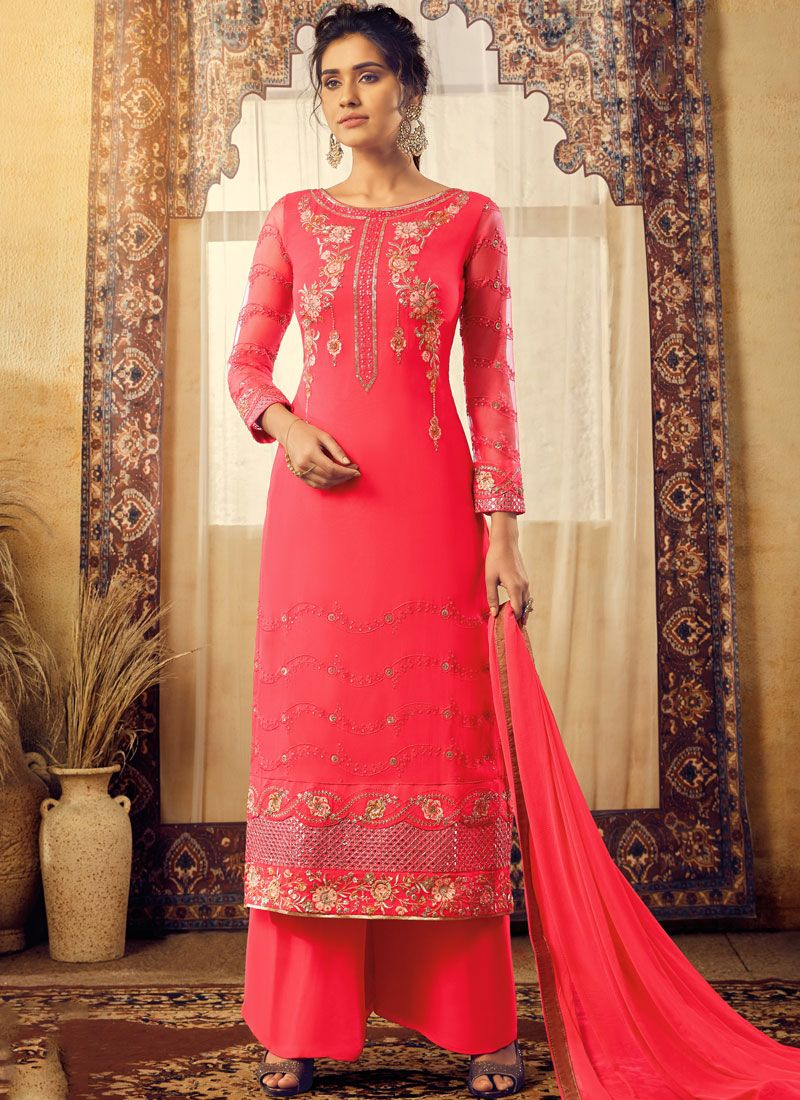 Hot Pink Reception Faux Georgette Trendy Palazzo Salwar Kameez