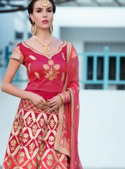 Hot Pink Resham Art Silk Lehenga Choli