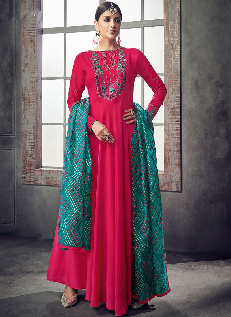 Hot Pink Resham Readymade Anarkali Suit