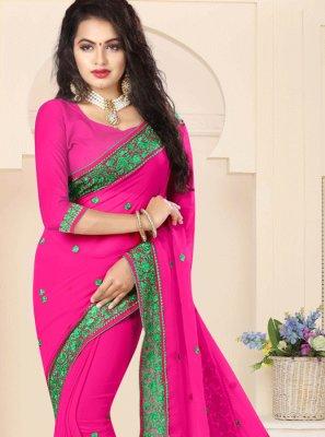 Hot Pink Resham Work Faux Georgette Classic Saree