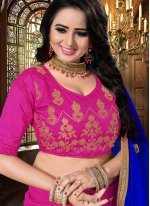 Hot Pink Sangeet Art Silk Lehenga Choli
