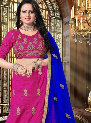 Hot Pink Sangeet Art Silk Lehenga Choli