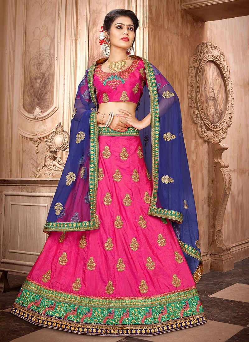 Hot Pink Sangeet Trendy Lehenga Choli