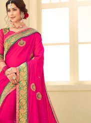 Hot Pink Satin Silk Festival Traditional Saree