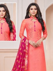 Hot Pink Silk Embroidered Churidar Suit