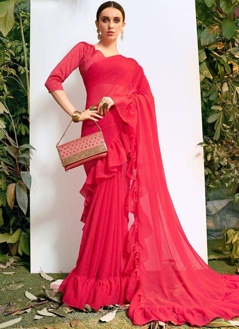 Hot Pink Stone Work Classic Saree
