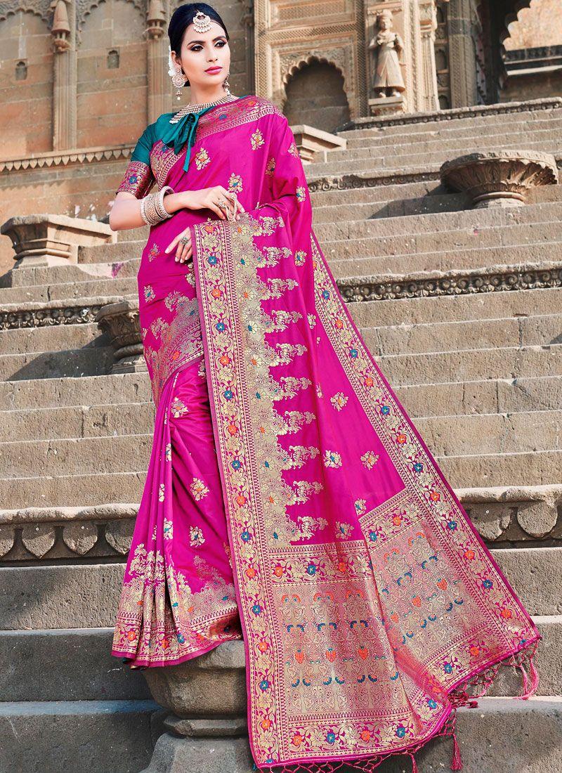 Hot Pink Traditional Designer Saree