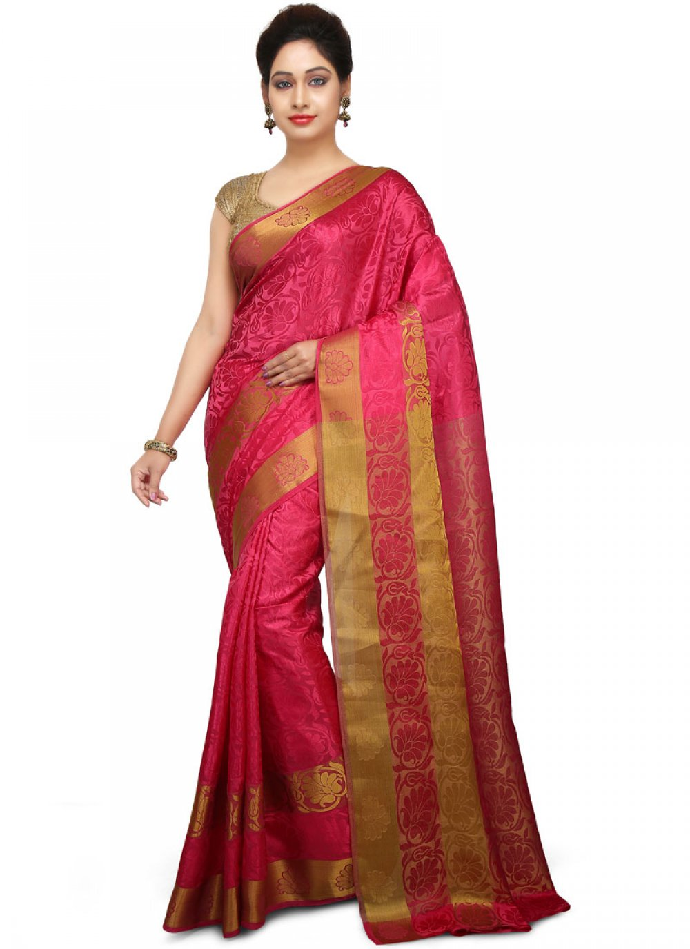 Hot Pink Weaving Art Silk Designer Traditional Saree
