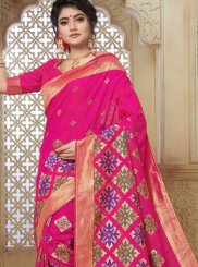 Hot Pink Weaving Art Silk Traditional Designer Saree