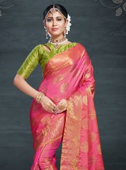 Hot Pink Weaving Art Silk Traditional Saree