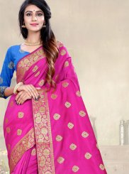 Hot Pink Weaving Ceremonial Designer Traditional Saree