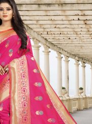 Hot Pink Weaving Designer Traditional Saree