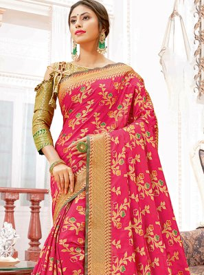 Hot Pink Weaving Festival Designer Traditional Saree