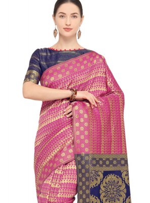 Hot Pink Weaving Festival Traditional Saree