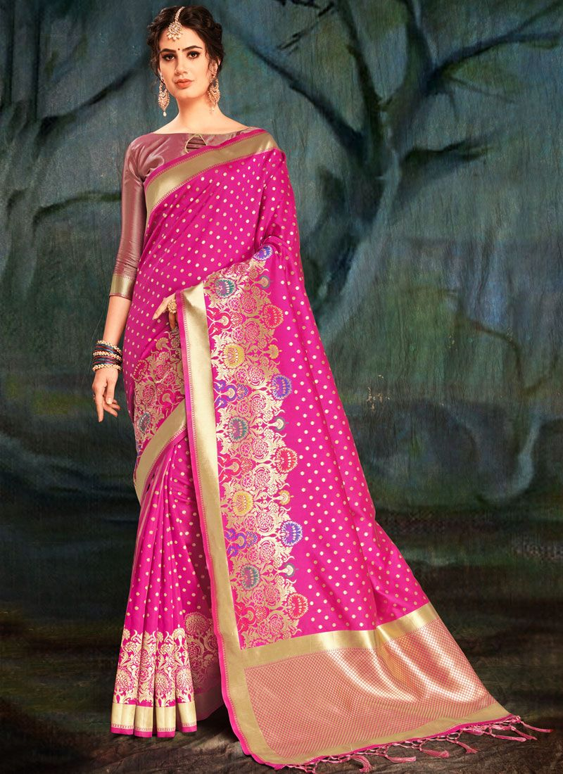Hot Pink Weaving Party Traditional Designer Saree