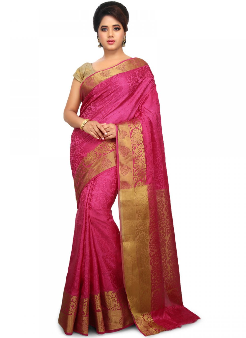 Hot Pink Weaving Traditional Designer Saree