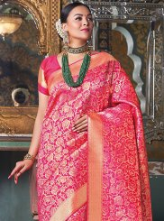 Hot Pink Weaving Traditional Designer Saree