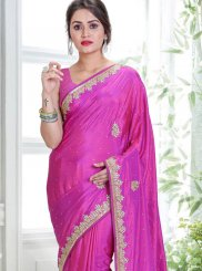 Hot Pink Wedding Art Silk Designer Traditional Saree