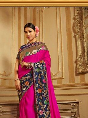 Hot Pink Wedding Art Silk Traditional Designer Saree